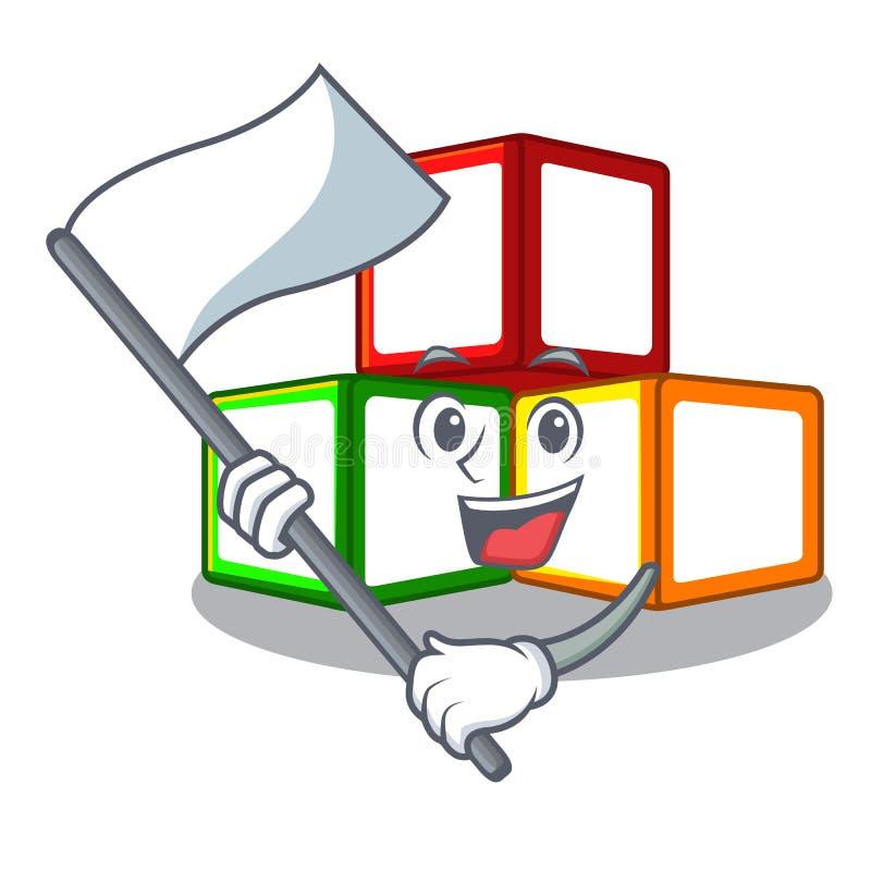 旗子在立方体箱子吉祥人的玩具块 库存例证
