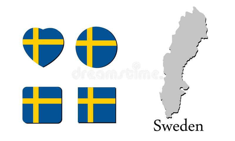 旗子地图瑞典 向量例证
