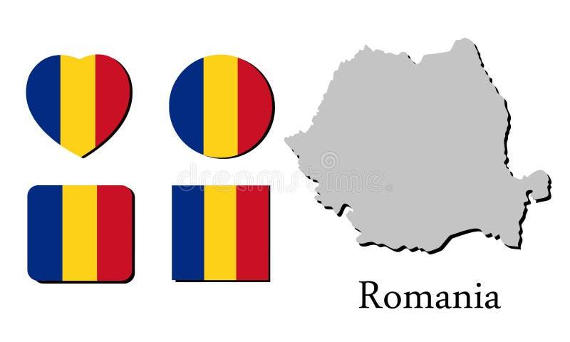 旗子地图罗马尼亚 皇族释放例证