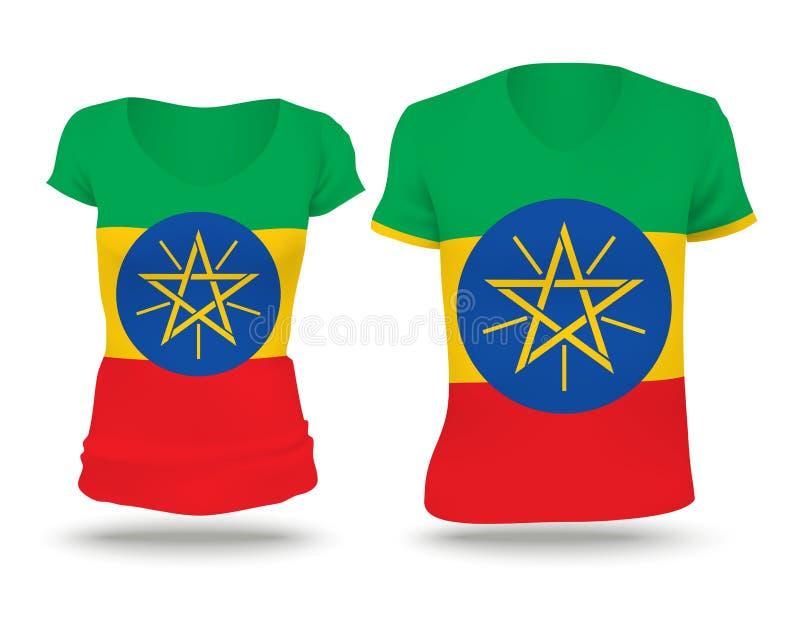 旗子埃塞俄比亚的衬衣设计 库存例证