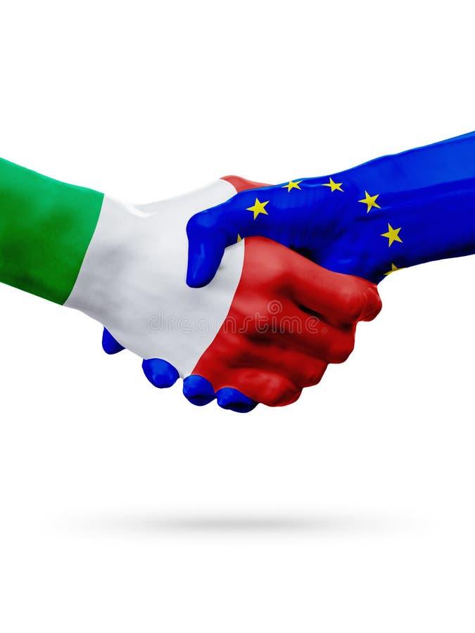旗子意大利,欧盟国家,合作友谊握手概念 免版税库存图片