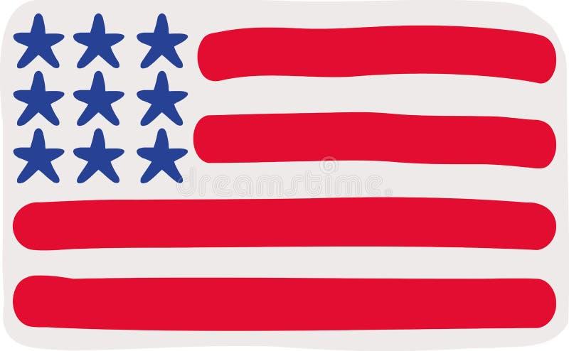 旗子手拉的美利坚合众国 库存例证