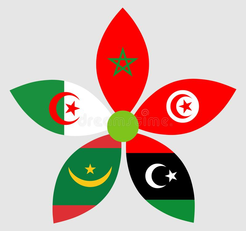 旗子摩洛哥阿尔及利亚突尼斯利比亚毛里塔尼亚 库存例证