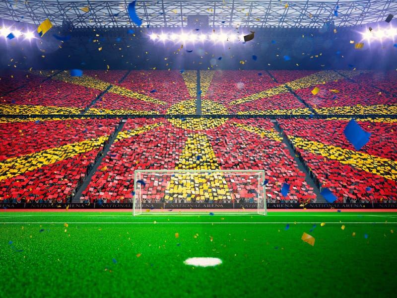 旗子爱好者马其顿  晚上体育场竞技场蓝色 图库摄影