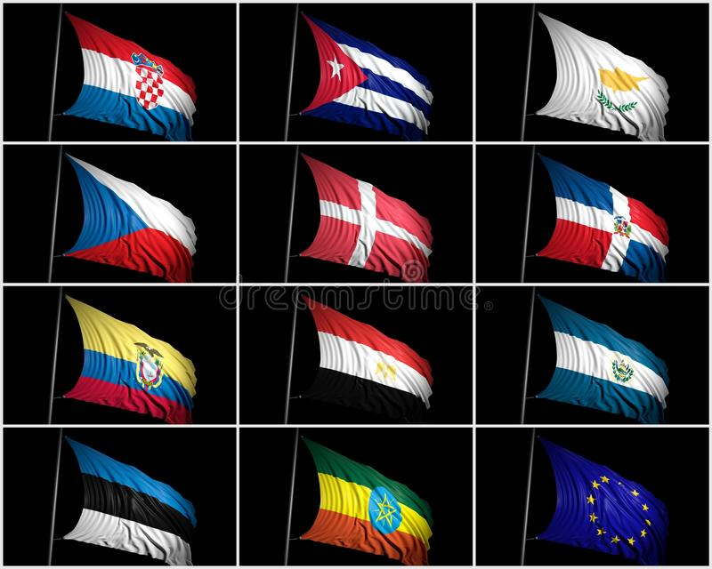 旗子的汇集 库存例证