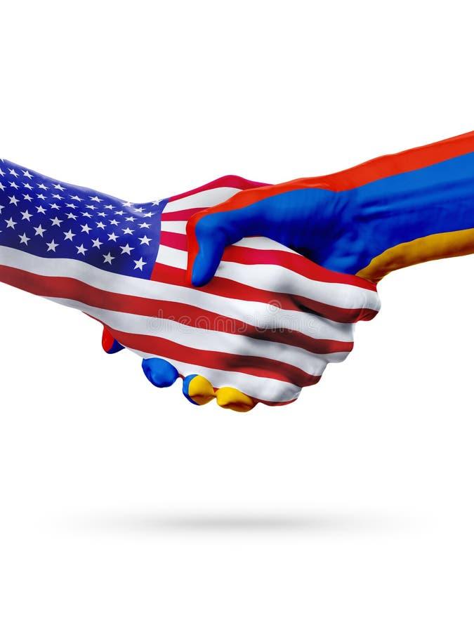 旗子美国和亚美尼亚,国家,合作握手 免版税库存照片