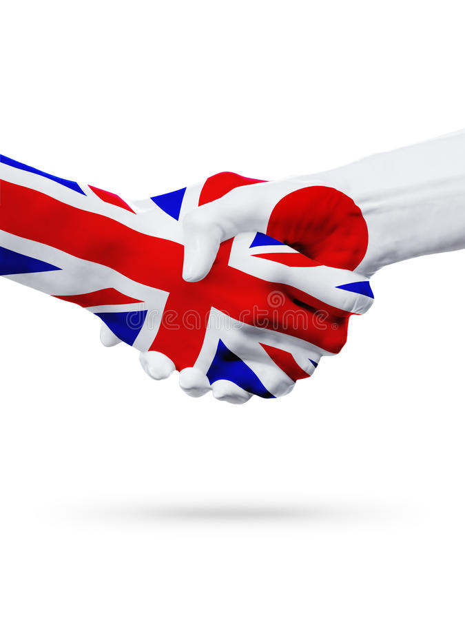 旗子英国,日本国家,合作友谊握手概念 库存图片