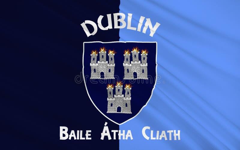 旗子都柏林地区是一个县在爱尔兰 向量例证
