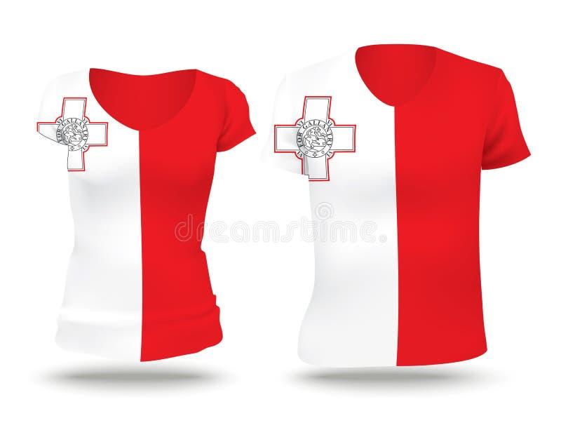 旗子马耳他衬衣设计  皇族释放例证