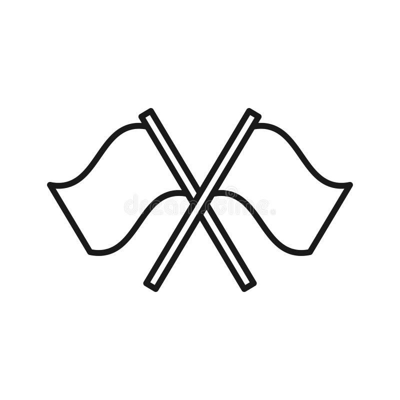 旗子黑被隔绝的概述象在白色背景的 线两面挥动的信号旗象  库存例证