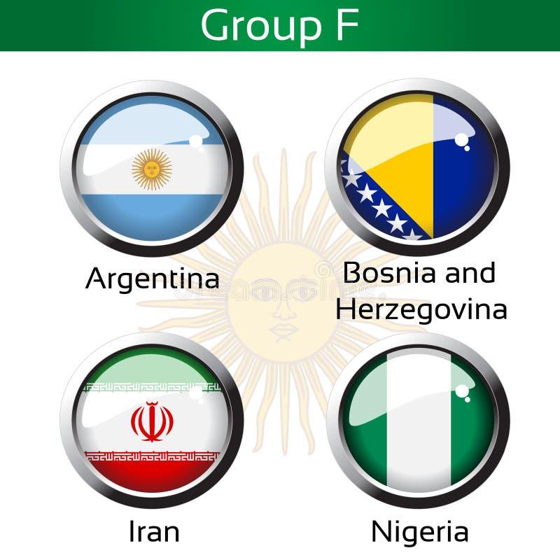 旗子-橄榄球巴西,小组F -阿根廷,波黑,伊朗,尼日利亚 皇族释放例证