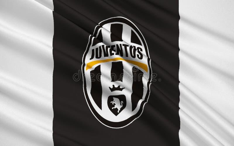 旗标橄榄球俱乐部尤文图斯队,意大利 免版税库存图片