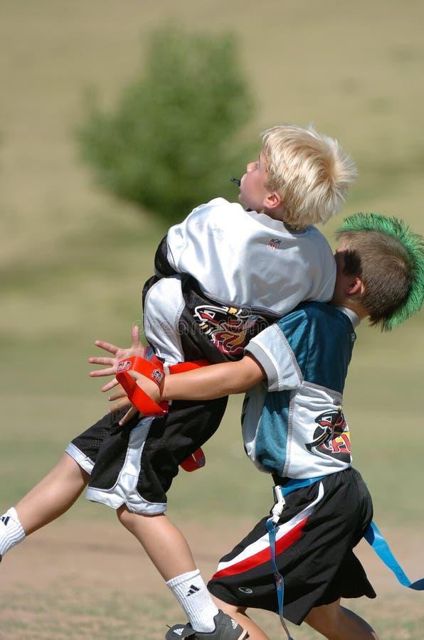 旗标橄榄球比赛 图库摄影