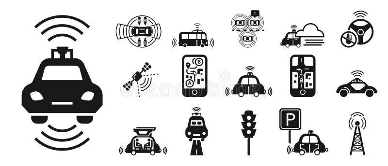 无人驾驶的汽车象集合,简单的样式 向量例证