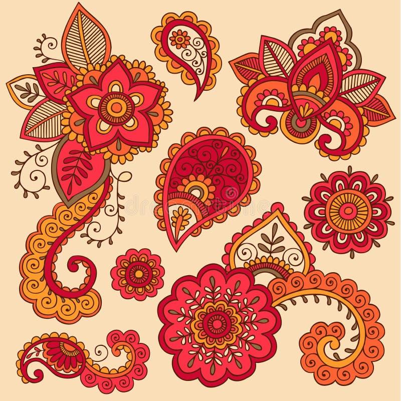 无刺指甲花五颜六色的Mehndi纹身花刺乱画向量 库存例证