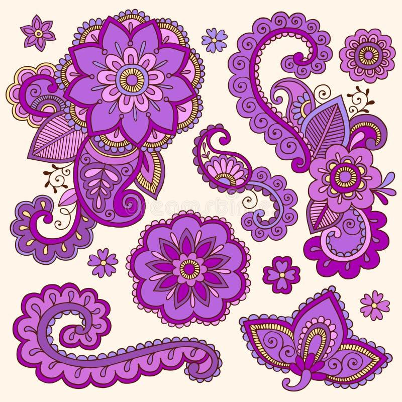 无刺指甲花五颜六色的Mehndi纹身花刺乱画向量 向量例证