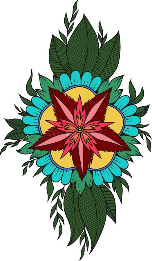 无刺指甲花抽象坛场花和佩兹利乱画,上色页 向量例证