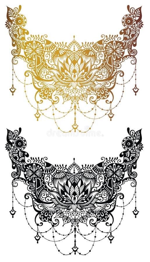 无刺指甲花纹身花刺在印地安样式的花模板 种族花卉佩兹利-莲花 Mehndi样式 向量例证