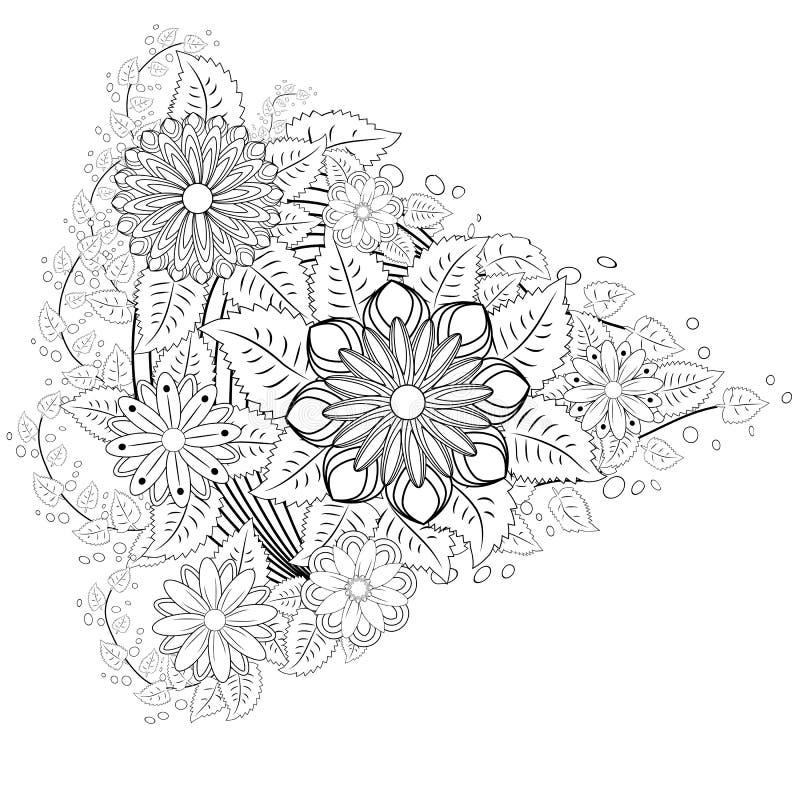 无刺指甲花纹身花刺在白色背景的乱画元素 在印地安样式的抽象花卉元素 种族装饰品,上色 向量例证