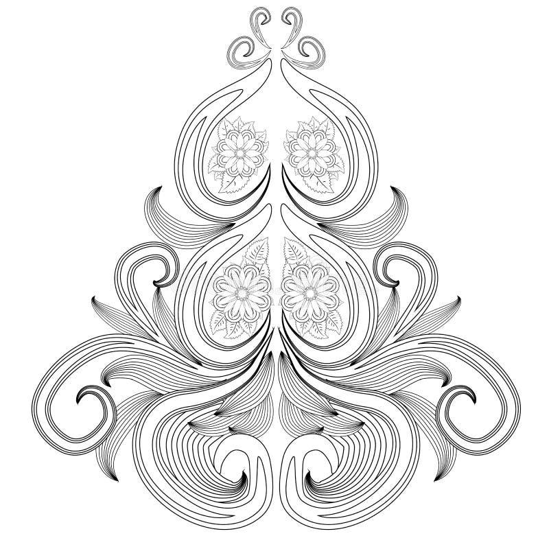 无刺指甲花纹身花刺在白色背景的乱画元素 Mehendi花传染媒介集合 在印地安样式的抽象花卉元素 种族 向量例证