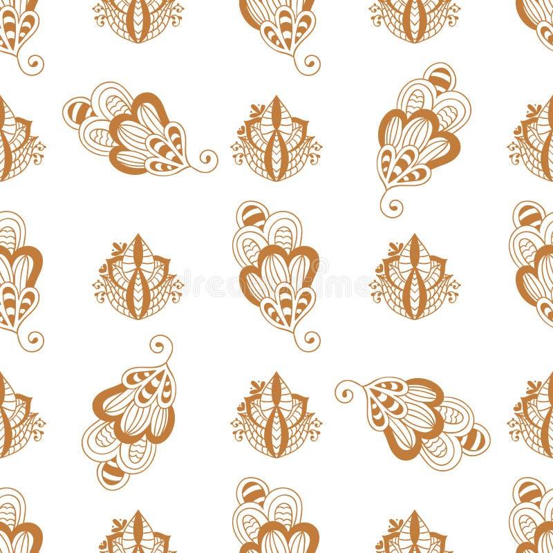 无刺指甲花纹身花刺褐色mehndi花乱画装饰装饰印地安设计无缝的样式背景佩兹利 向量例证