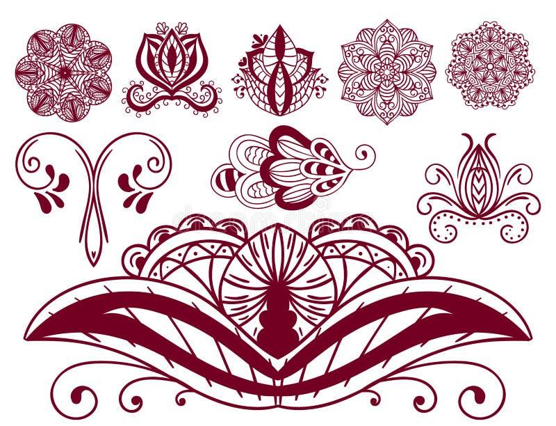 无刺指甲花纹身花刺褐色mehndi花乱画装饰装饰印地安设计样式佩兹利蔓藤花纹mhendi 库存例证