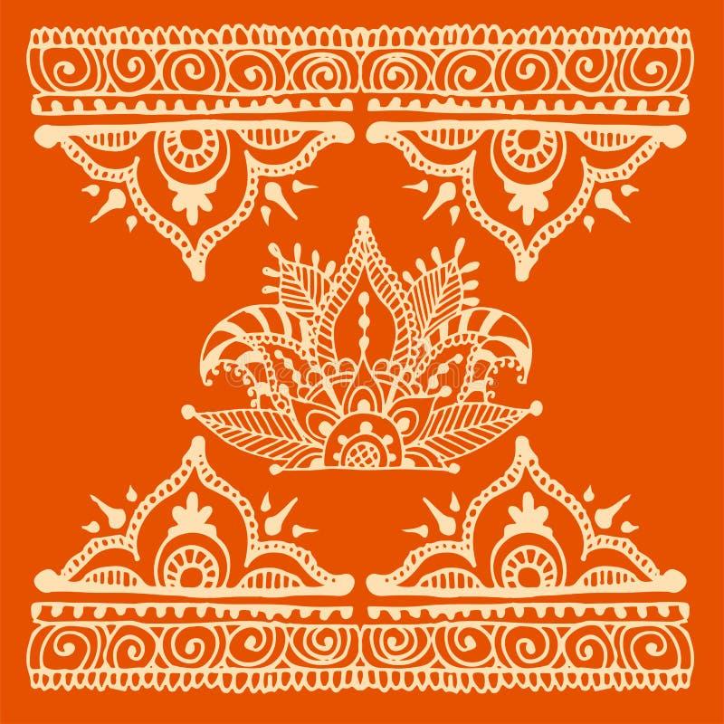 无刺指甲花纹身花刺褐色mehndi花乱画装饰装饰印地安设计样式佩兹利蔓藤花纹mhendi 向量例证