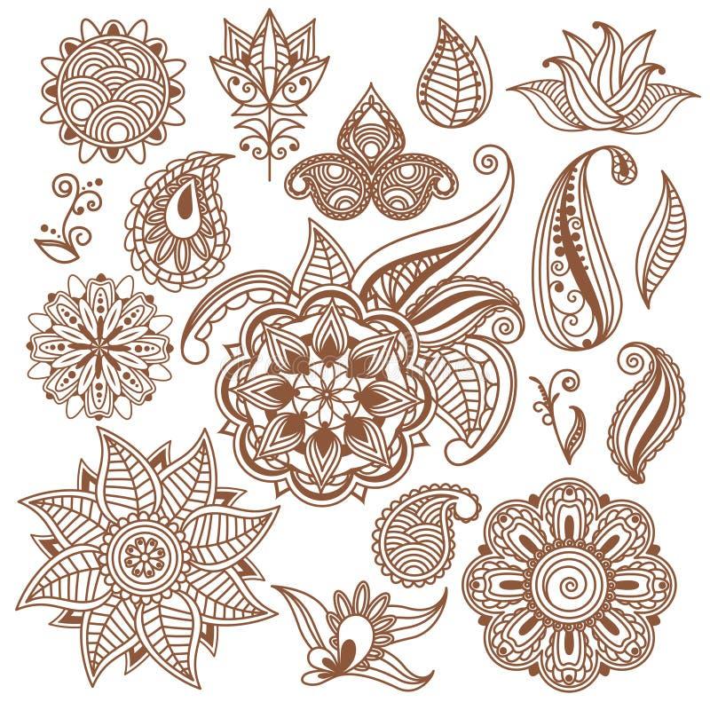 无刺指甲花纹身花刺, Mehndi 抽象花卉向量 向量例证