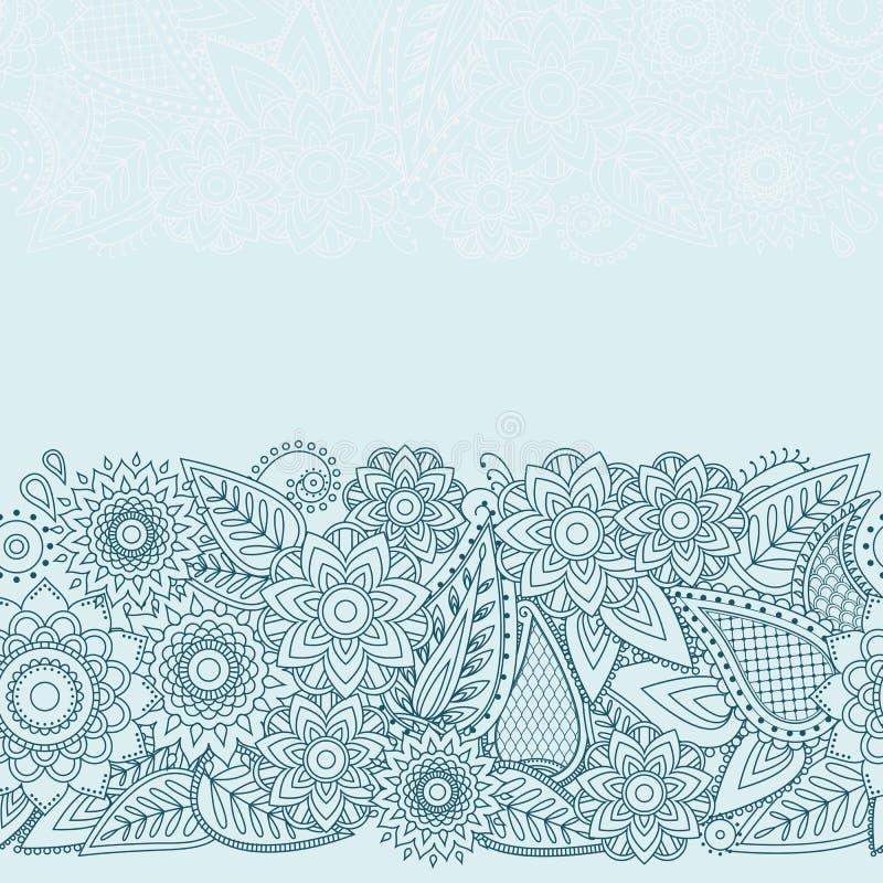 无刺指甲花花Mehndi设计传染媒介无缝的样式 皇族释放例证