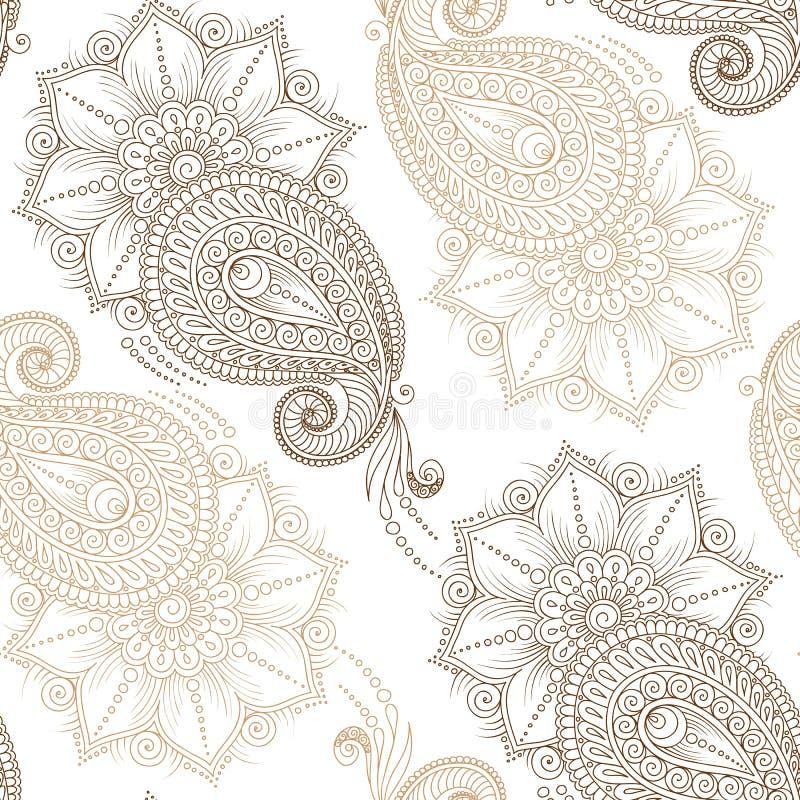 无刺指甲花Mehendy乱画在白色背景的无缝的样式 皇族释放例证