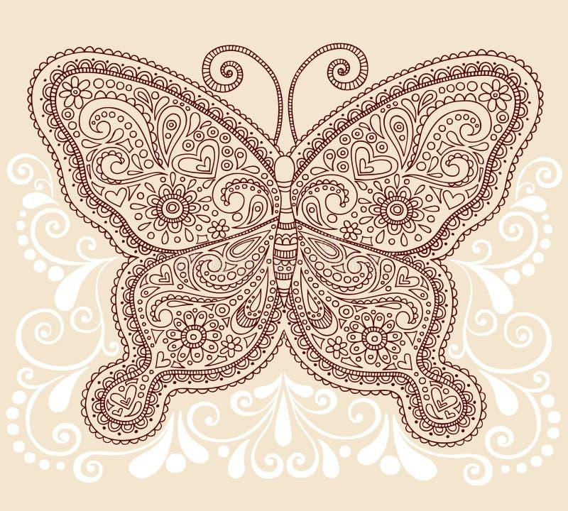 无刺指甲花Mehndi佩兹利蝴蝶乱画设计 向量例证