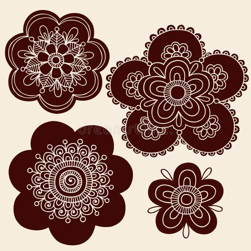 无刺指甲花Mehndi纹身花刺花现出轮廓向量 向量例证