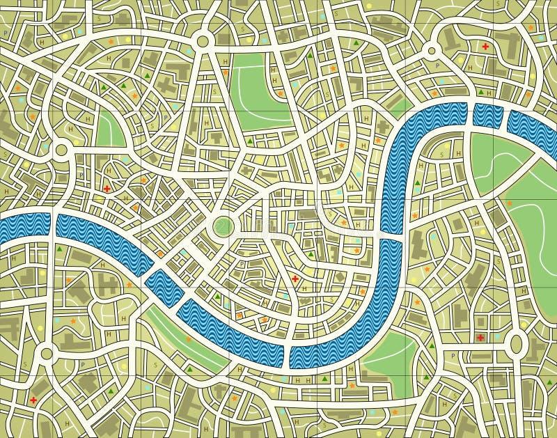无名城市的映射 库存例证