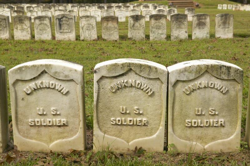 无名英雄墓、国家公园Andersonville或阵营Sumter,南北战争监狱和公墓 库存图片