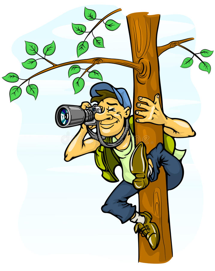 无固定职业的摄影师照片结构树 库存例证