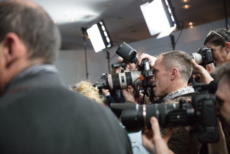 无固定职业的摄影师闪光 免版税库存照片