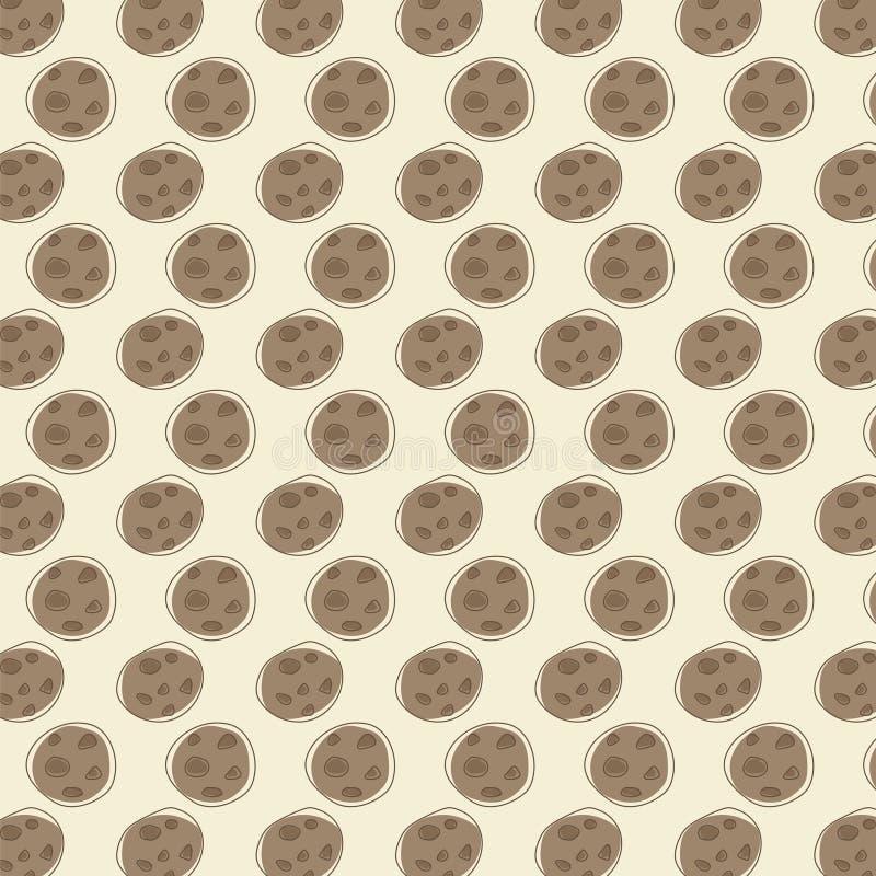 无声的咖啡样式传染媒介背景的布朗巧克力圆的曲奇饼图画 皇族释放例证