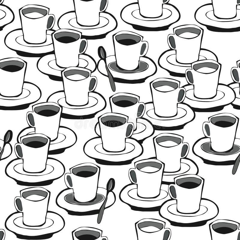 无奶咖啡加奶咖啡无缝的模式 皇族释放例证