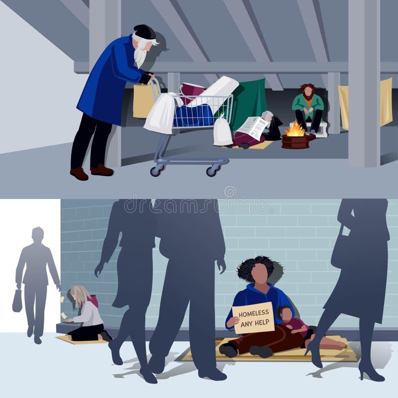 无家可归的人平的构成 皇族释放例证