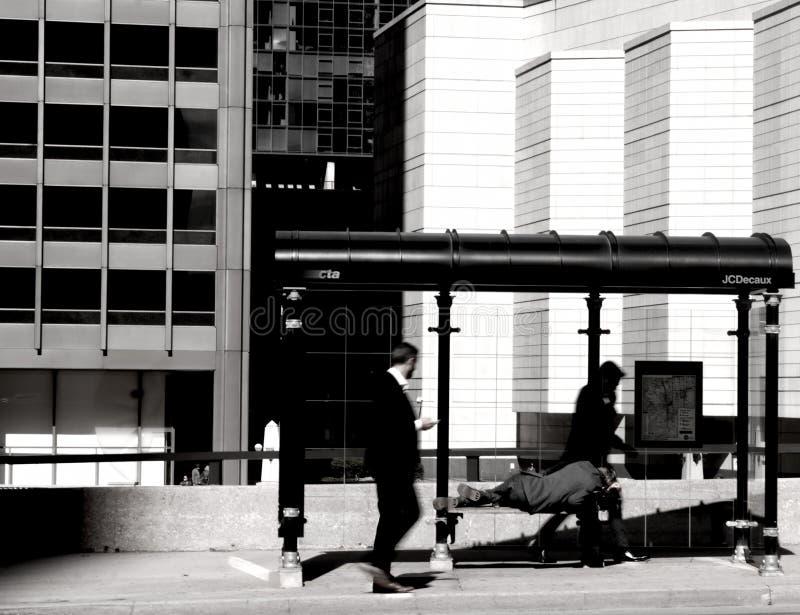 无家可归的人照片布拉格哀伤的街道 免版税库存图片