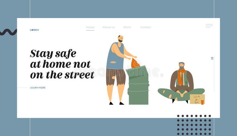 无家可归的人网站着陆页,乞求的字符金钱和需要帮助,在街道上,人穿破的服装的丢失了 库存例证