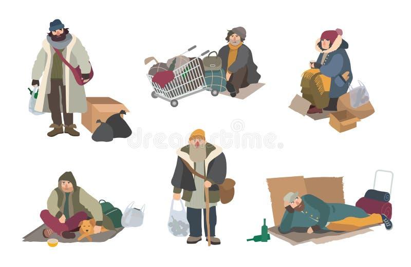 无家可归的人 动画片平的字符设置了例证 皇族释放例证