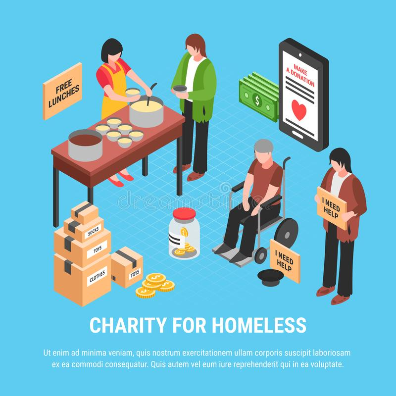 无家可归的等量海报的慈善 向量例证