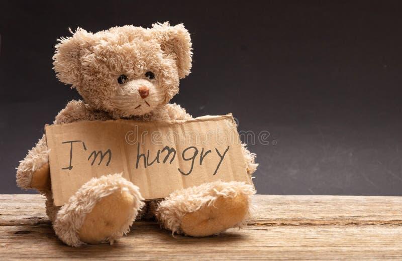 无家可归的饥饿的儿童概念 哀伤的玩具熊,拿着纸板标志,饥饿的文本 库存图片