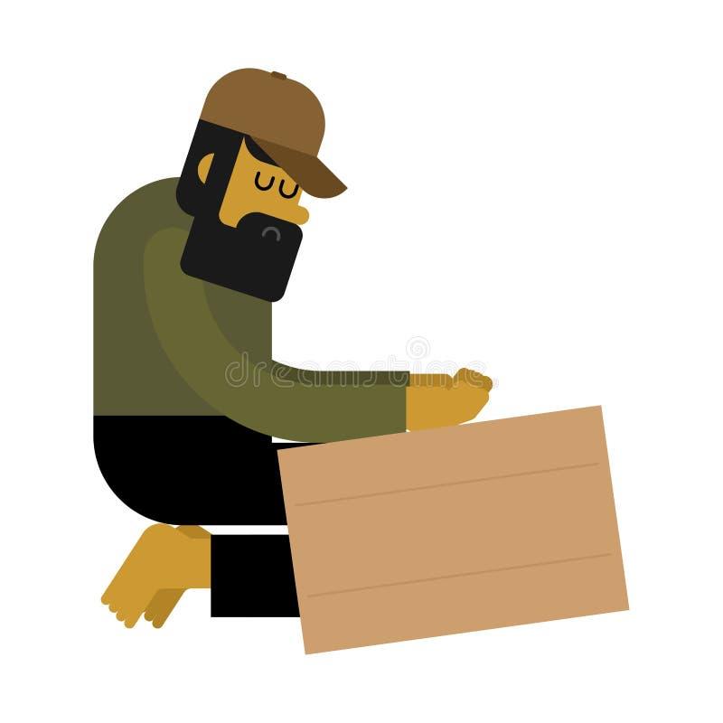 无家可归者和纸板 叫化子和空白的板材,穷 二赖子流浪汉 皇族释放例证