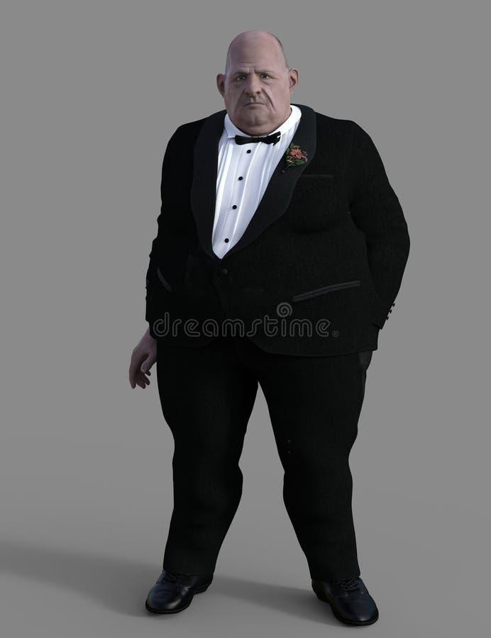 无尾礼服的典雅的肥胖人 向量例证