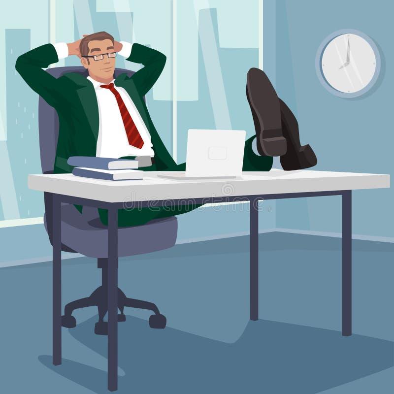 无忧无虑的商人在工作场所睡觉 向量例证