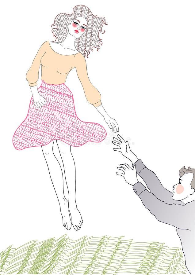 无忧无虑的女孩和一个人爱的 皇族释放例证