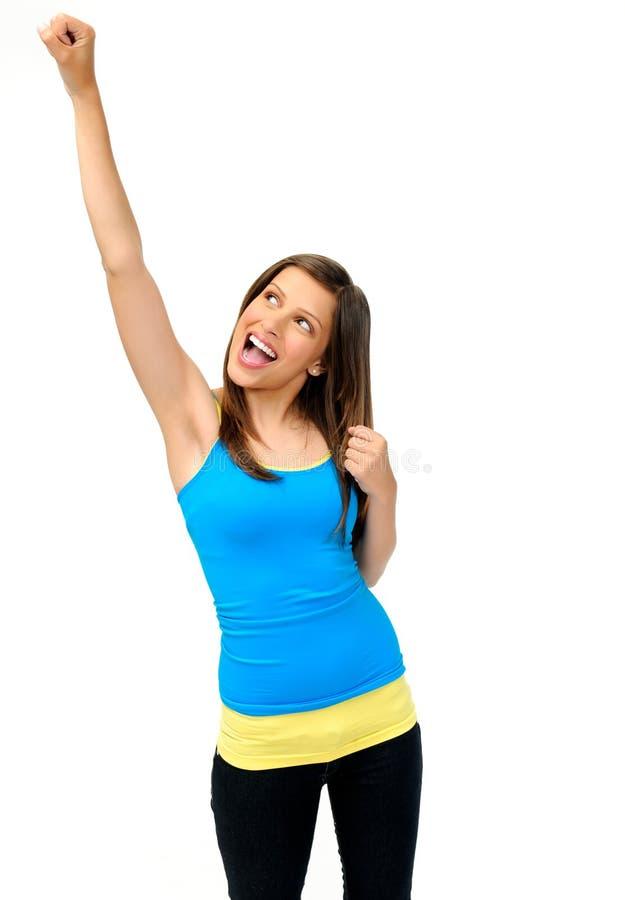 无忧无虑的女孩胜利 免版税库存照片