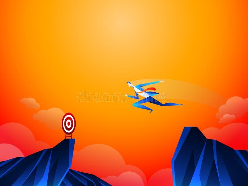 无所畏惧的勇敢的商人由在山沟的跃迁,峭壁,峡谷做风险到达他的他的成功目标挑战 向量例证